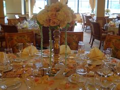 Centerpiece of Hydrangea, Roses, Lisianthus, and Amaranthus. Floral designs by China Rose Florist, Marco Island, Fl.