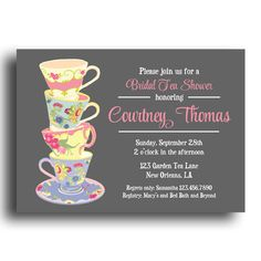 Tea Party Invitation Printable or Printed with FREE SHIPPING - Birthday, Bridal or Baby Shower - Stacked Tea Cups Collection by ThatPartyChick on Etsy