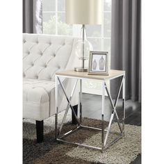Convenience Concepts Chrome Belaire End Table (Weathered White)