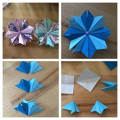 Modul Origami Blume/Stern mit Magneten Modular Star/Flower Magnet at the back