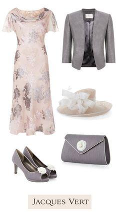 Matching Occasion Outfits  for Weddings, Race Days and other Special Occasions | Jacques Vert | Luxurious Soft pink floral dress with chiffon fluted sleeves and a cowl neckline with matching grey and pink accessories