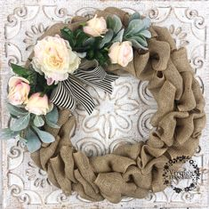 Excited to share this item from my shop: Beautiful Romantic Burlap Wreath, Peony/Blush Roses/L Burlap Wreath Tutorial, Diy Wreath, Wreath Ideas, Fall Burlap Wreaths, Burlap Wrapped Wreath, Burlap Initial Wreath, Yarn Wreaths, Ribbon Wreaths, Tulle Wreath