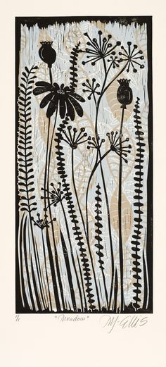 Idea for work on folio Meadow, a color linocut by Mariann Johansen Ellis, Artcanbefun; I love the subtle layering of color Linocut Prints, Art Prints, Block Prints, Drawn Art, Hand Drawn, Illustrator, Motif Floral, Sgraffito, Art Graphique