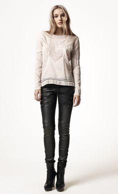 ICONIC VIBE BLOUSE, VAVOOM STRETCH LEATHER PANTS.