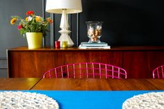 I finally painted the dining room wall a deep charcoal color -- BM Wrought Iron!