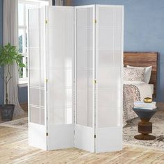 World Menagerie Marla Room Divider Number of Panels: 4 Panels, Colour: White Glass Room Divider, 4 Panel Room Divider, Diy Room Divider, Divider Ideas, Portable Room Dividers, Folding Room Dividers, Half Walls, Temporary Wall, Formal Living Rooms