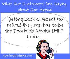 Doorknob Wealth Bell for more money and less bills from Zen Appeal. Feng Shui And Money, Feng Shui Wealth, Feng Shui Tips, Feng Shui Entryway, Feng Shui Front Door, Thing 1, Tax Refund, Back Doors, Door Knobs
