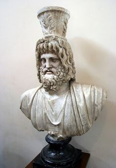"""Statue of Serapis in the Greco-Roman Museum: """"The image held today of a white man with long, dark hair and a beard is also that of Serapis, the syncretic god of the Egyptian state religion in the third century BCE, who was by the fourth century CE the most highly respected god in Egypt."""" --Acharya S, The Christ Conspiracy"""