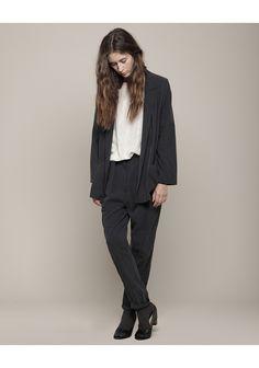 La Garconne Moderne Yoked Washed-Silk Jacket + Trouser