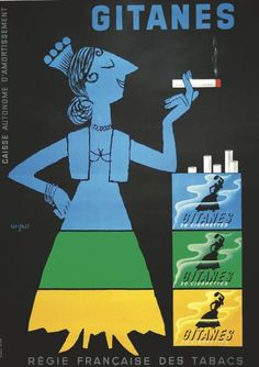 Affiche vintage de Raymond Savignac pour les cigarettes Gitanes