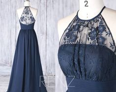 Bridesmaid Dress Navy Blue Chiffon Illusion Lace Wedding Dress,Halter Key Hole Back Ruched Prom Dress,A Line Long Evening dress (H516)