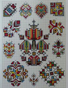 Ukrainian and Romanian embroidery of Bukovyna-Bucovina Folk Embroidery, Cross Stitch Embroidery, Embroidery Patterns, Beading Patterns Free, Cross Stitch Designs, Cross Stitch Patterns, Motifs Blackwork, Bargello, Cross Stitching