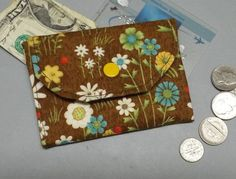 Mini Fabric Wallet Wildflowers on Brown or Rust Fabric by AlwaysALittleBehind on Etsy