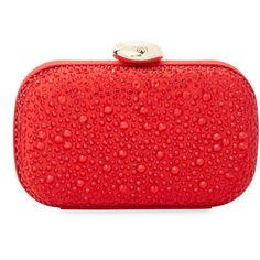 Love Moschino Women's Embellished Satin Clutch - Red ($130) ❤ liked on Polyvore featuring bags, handbags, clutches, red, red purse, satin purse, love moschino purse, love moschino handbags and red clutches