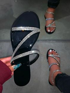 """SIZE Heel Height Approx: 0.5"""" DETAILS PVC Material (JELLY) Rhinestone Straps Half Sizes Please Size UP Pretty Sandals, Cute Sandals, Pretty Shoes, Black Sandals, Shoes Sandals, Fashion Slippers, Fashion Shoes, Fancy Shoes, Me Too Shoes"""
