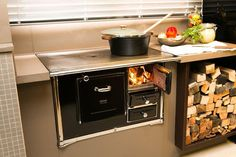 Country Kitchen Style: Buy A Wood Stove Old Kitchen, Kitchen Cart, Kitchen Utensils, Country Kitchen, Kitchen Appliances, House With Balcony, Stove Fireplace, Summer Kitchen, Kitchen Pictures