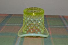 Vintage Fenton? Art Glass Opalescent Green Hobnail Top Hat Vase #Fenton