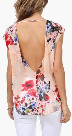 Floral V-Back Blouse