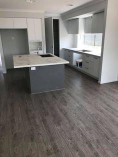 CANTERBURY GREY island with POLAR WHITE cabinetry (dusty rock floor) Rock Floor, Gray Island, Canterbury, Kitchen Colors, Floors, Grey, Home Tiles, Gray, Flats