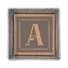 Wholesale metal trinket tray lined cork monogram