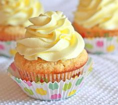 Lemon Cupcakes topped with a luscious citrus buttercream