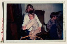Ryan trying out Nicole's new bike. Casey is on the right. c. 1980 #AuntHeather