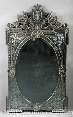 venetian etched glass mirror late 19th century.