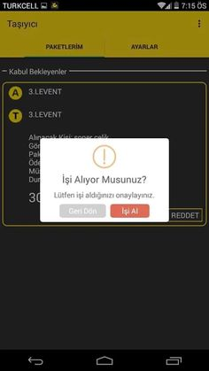 Taşıyıcı - Ceptekurye- ekran görüntüsü