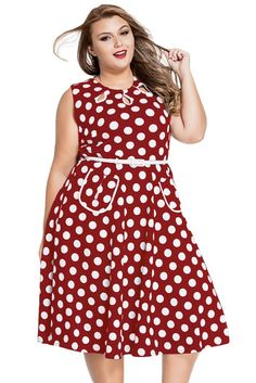 Plus size black and white polka dot dress - http://pluslook.eu ...