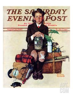 Home from Camp Saturday Evening Post Cover, August 24,1940 Giclee Print by Norman Rockwell at Art.com