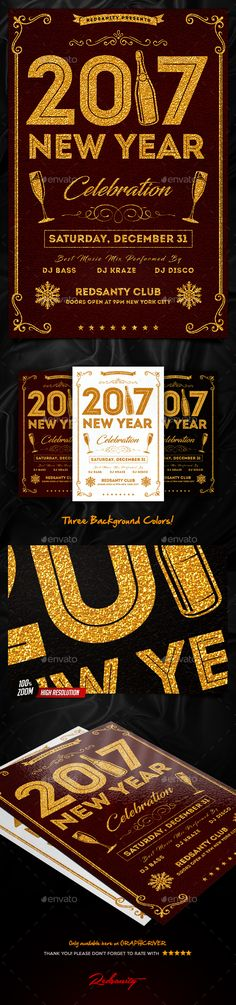#New #Year Celebration #Flyer - Clubs & Parties Events Download here:  https://graphicriver.net/item/new-year-celebration-flyer/18812729?ref=alena994