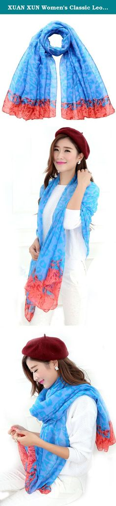 """XUAN XUN Women's Classic Leopard Printing Super Large Scarf Shawl, Cornflower Blue. Double tone leopard print scarf, soft chiffon lightweight scarf shawl. Features leopards, flowers & optional solid color background in a vintage look for any time of the year. Look classic and pretty in these lightweight scarves. Available in variety of colors to match any outfit. Product material: 100% Viscose. Product Dimensions: 39.37"""" x 70.86"""". Product Weight: 90grams. Model Measurement (Inches)…"""
