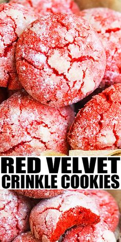 hurricane food ideas RED VELVET CRINKLE COOKIES RECIPE- The best quick easy classic red velvet cookies from scratch homemade with simple ingredients. They are crispy on the outside Flourless Chocolate Torte, Low Carb Chocolate, Chocolate Recipes, Red Velvet Crinkle Cookies, Red Velvet Crinkles, Cookie Recipes, Dessert Recipes, Cookie Ideas, Baking Recipes