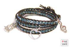 www.facebook.com/... Kulki Sznurki-biżutera personalizowana. Handmade jewellery. Wrap bracelets on leather #bracelet #bransoletka #walentynki #valentinesday #prezenty #heart #serce #silver