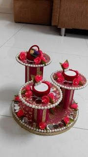 Ring platter with cds n colgate box Thali Decoration Ideas, Diy Diwali Decorations, Indian Wedding Decorations, Festival Decorations, Diwali Craft, Diwali Diy, Engagement Ring Platter, Engagement Rings, Easy Crafts
