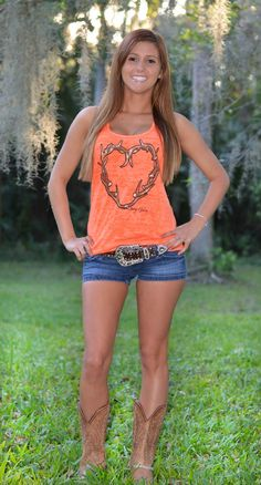 Neon antler Heart Burnout tank tops-pink and orange cute outfit for a country concert