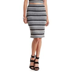 Charlotte Russe Gray Combo Striped & Ribbed Sweater Knit Pencil Skirt... ($19) ❤ liked on Polyvore featuring skirts, gray combo, charlotte russe, knit pencil skirt, pencil skirt, grey pencil skirt и stretch pencil skirt