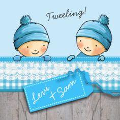 Geboortekaartje winter tweeling jongetjes