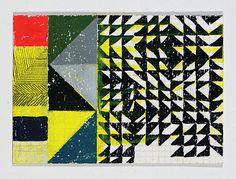 Geometric Painting Yellow Green & Black by JenniferSanchezArt