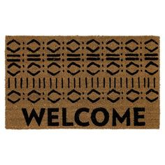 "Welcome Tribal Block Print Rug - Natural - (1'6""X2'6) - Threshold : Target"