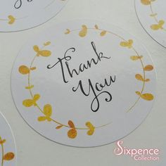 48 x White Gloss Gold Laurel Thank You Envelope or Favour