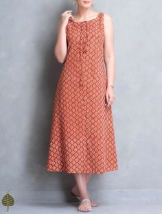 Madder-Off White Block Printed Cotton Dress with Pockets by Jaypore