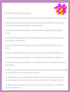 Perfect Pass The Present U2013 Fun Poem That You Can Do At The End Of A Shower To See  Who Gets The Final Gift Giveaway Or Centerpiece. Super Fun Baby Shower Games  ...