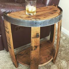 Bourbon Barrel Half End Table Wine Barrel End Table, Whiskey Barrel Coffee Table, Whiskey Barrel Furniture, Barrel Chair, Design Furniture, Diy Furniture, Automotive Furniture, Automotive Decor, Handmade Furniture