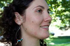 Silver Hoops with AZ. Turquoise and Spiny by SeleneJoyDesigns