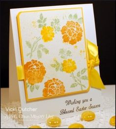Check out this easy version of watercoloring using stamps, ink, and a water spritzer.