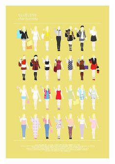 Clueless Movie Poster Minimalist print Cher Horowitz fashion looks funny home decor Minimal Style Poster Chick Flick gay friend gift Clueless Quotes, Clueless 1995, Clueless Fashion, Cher Clueless Outfit, Dionne Clueless Outfits, Clueless Style, Clueless Costume, 90s Fashion, Cher Horowitz