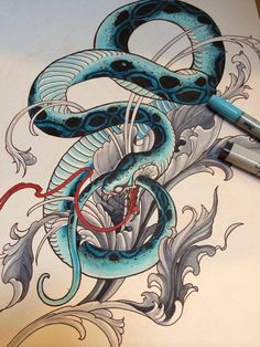 Awesome sketch done by Elving Yong at Elvin Tattoo, Singapore Japanese Dragon Tattoo Meaning, Japanese Snake Tattoo, Japanese Sleeve Tattoos, Tattoo Sketches, Tattoo Drawings, Asian Artwork, Snake Art, Asian Tattoos, Japan Tattoo