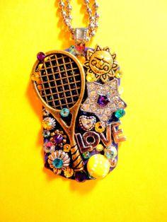 I Love Tennis Dog Tag Pendant Number 1346 by BradosBling on Etsy, $39.99