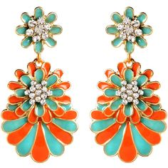 Amrita Singh Austrian Crystal & Coral Dream Island Drop Earrings ($9.99) ❤ liked on Polyvore featuring jewelry, earrings, austrian crystal jewelry, austrian crystal earrings, coral earrings, amrita singh jewellery and cluster earrings